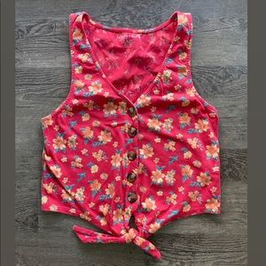 American Eagle Tie Front Floral Cropped Tank